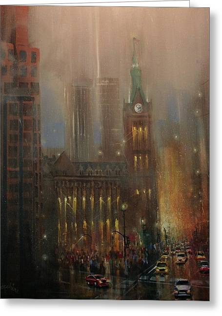 City Lights Greeting Cards - Milwaukee Rain Greeting Card by Tom Shropshire