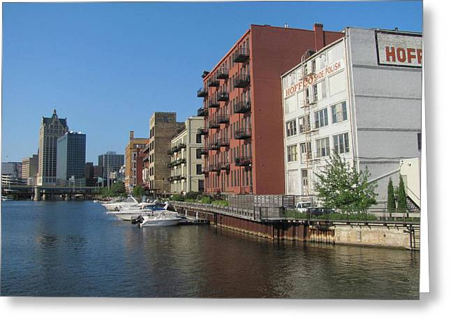 Riverwalk Greeting Cards - Milwaukee River Architechture 1 Greeting Card by Anita Burgermeister