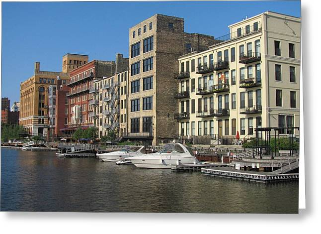 Milwaukee River Architecture 3 Greeting Card by Anita Burgermeister