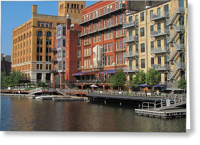 Riverwalk Greeting Cards - Milwaukee River Architecture 4 Greeting Card by Anita Burgermeister