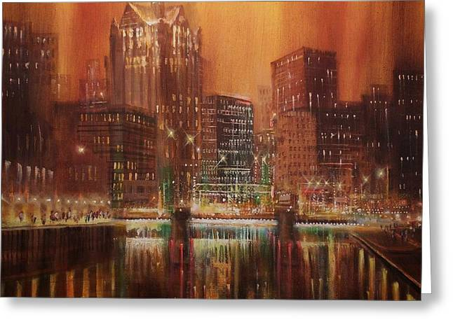 City Lights Greeting Cards - Milwaukee River Downtown Greeting Card by Tom Shropshire