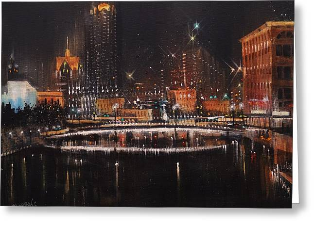 City Lights Greeting Cards - Milwaukee River Lights Greeting Card by Tom Shropshire