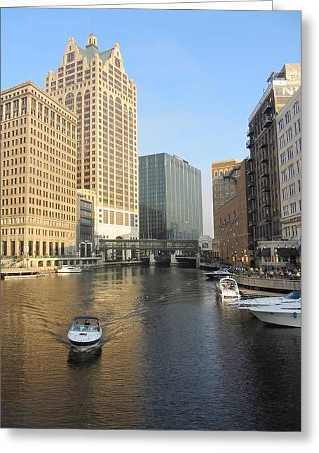 River Walk Greeting Cards - Milwaukee River Theater District 3 Greeting Card by Anita Burgermeister