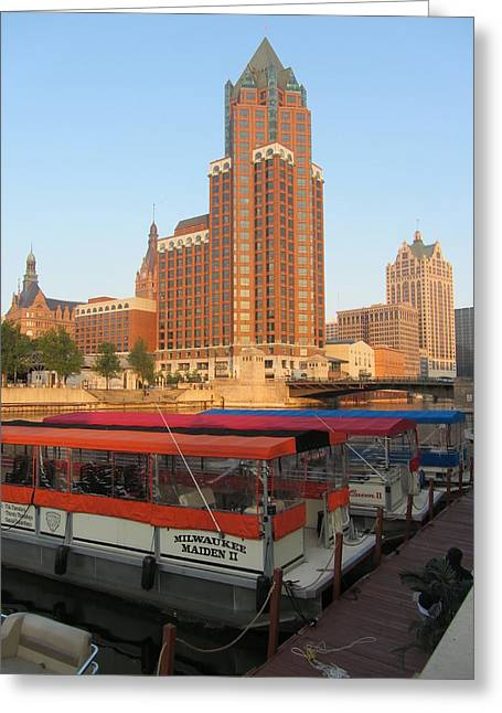 Boat Cruise Greeting Cards - Milwaukee River Theater District 5 Greeting Card by Anita Burgermeister