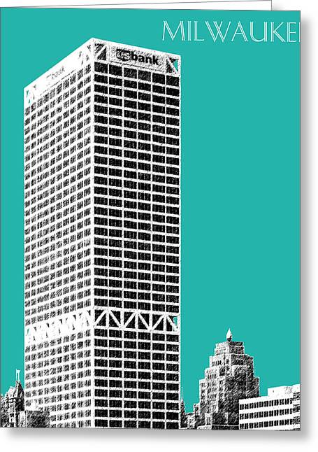 Wisconsin Art Greeting Cards - Milwaukee Skyline 1 - Teal Greeting Card by DB Artist