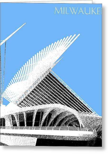 Sketch Greeting Cards - Milwaukee Skyline Art Museum - Light Blue Greeting Card by DB Artist