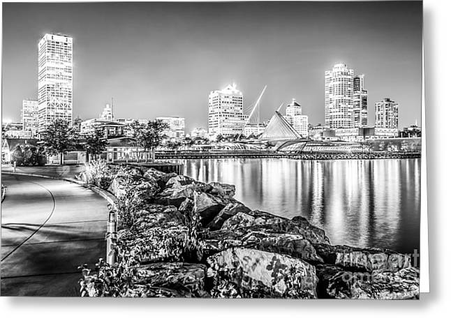 American Art Museum Greeting Cards - Milwaukee Skyline at Night Black and White Photo Greeting Card by Paul Velgos