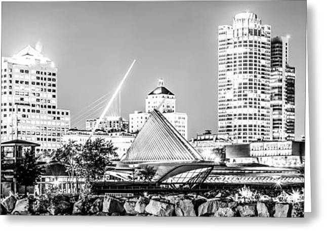 American Art Museum Greeting Cards - Milwaukee Skyline at Night Panorama in Black and White Greeting Card by Paul Velgos