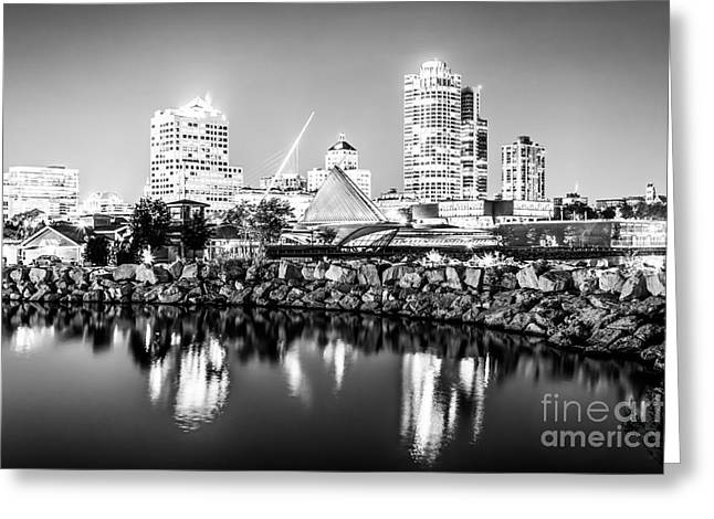 Milwaukee Art Museum Greeting Cards - Milwaukee Skyline at Night Photo in Black and White Greeting Card by Paul Velgos