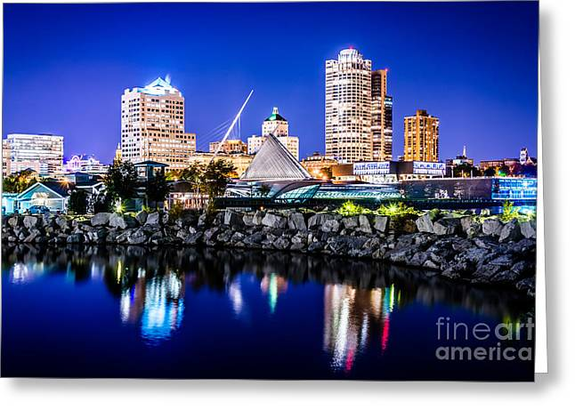 Milwaukee Art Museum Greeting Cards - Milwaukee Skyline at Night Photo in Blue Greeting Card by Paul Velgos