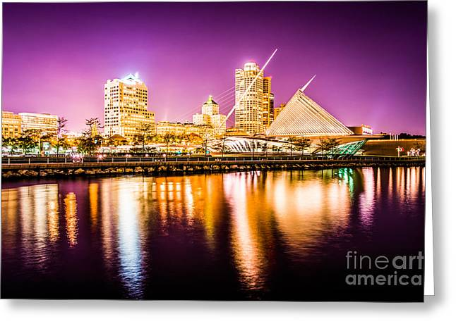 Milwaukee Art Museum Greeting Cards - Milwaukee Skyline at Night Picture in Purple Greeting Card by Paul Velgos