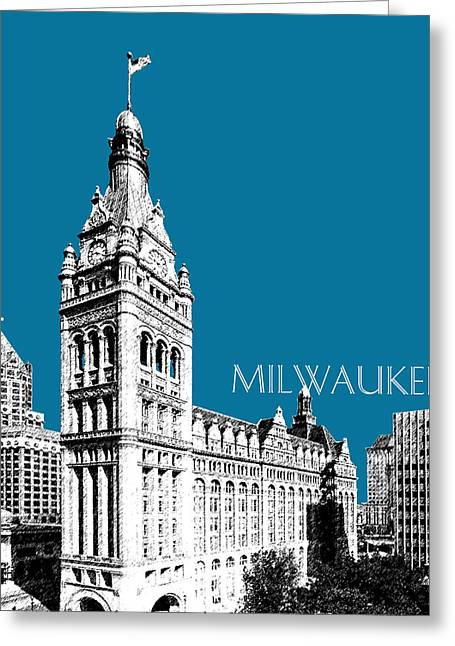 Wisconsin Art Greeting Cards - Milwaukee Skyline City Hall - Steel Greeting Card by DB Artist