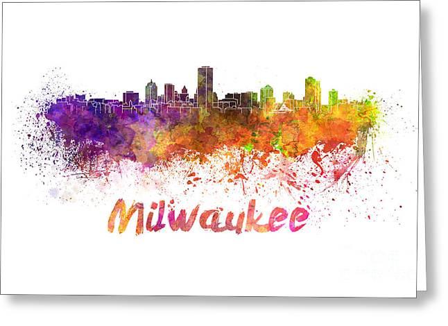 Milwaukee Skyline Greeting Cards - Milwaukee skyline in watercolor Greeting Card by Pablo Romero