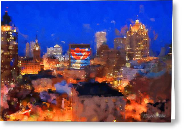 Summerfest Greeting Cards - Milwaukee Summer Glow Greeting Card by Geoff Strehlow