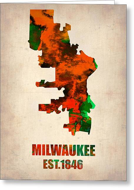 Milwaukee Greeting Cards - Milwaukee Watercolor Map Greeting Card by Naxart Studio