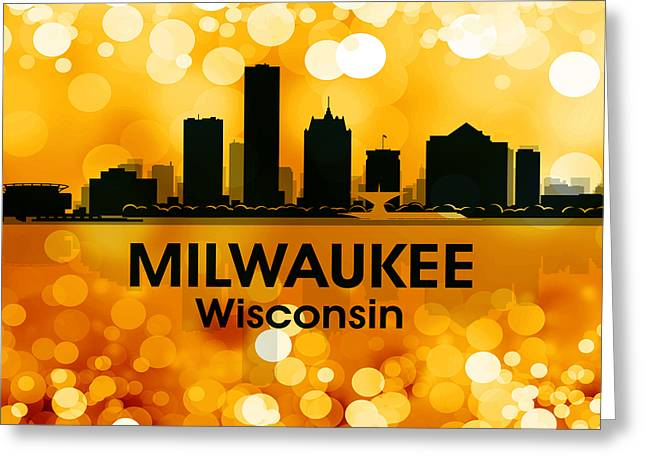 Abstract Silhouette Mixed Media Greeting Cards - Milwaukee WI 3 Greeting Card by Angelina Vick
