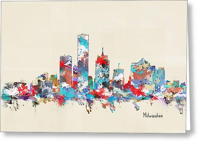 Milwaukee Skyline Greeting Cards - Milwaukee Wisconsin Greeting Card by Bri Buckley