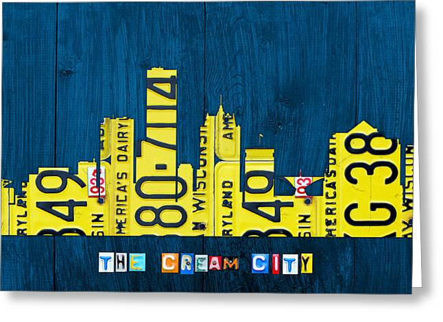 City Buildings Mixed Media Greeting Cards - Milwaukee Wisconsin City Skyline License Plate Art Vintage on Wood Greeting Card by Design Turnpike