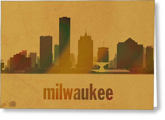 Milwaukee Greeting Cards - Milwaukee Wisconsin City Skyline Watercolor On Parchment Greeting Card by Design Turnpike
