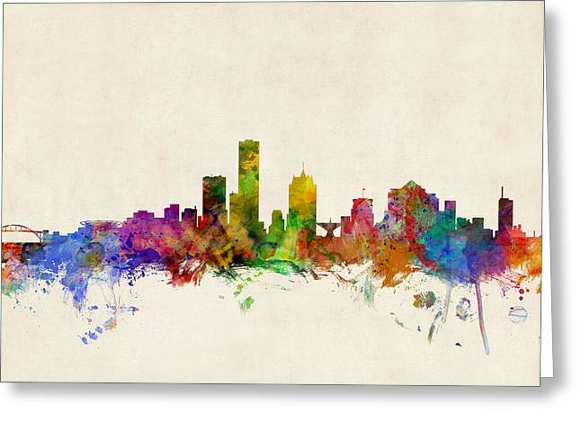 States Greeting Cards - Milwaukee Wisconsin Skyline Greeting Card by Michael Tompsett