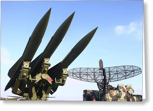 Anti-aircraft Greeting Cards - Mim-23 Hawk Anti-aircraft Missile Greeting Card by Timm Ziegenthaler