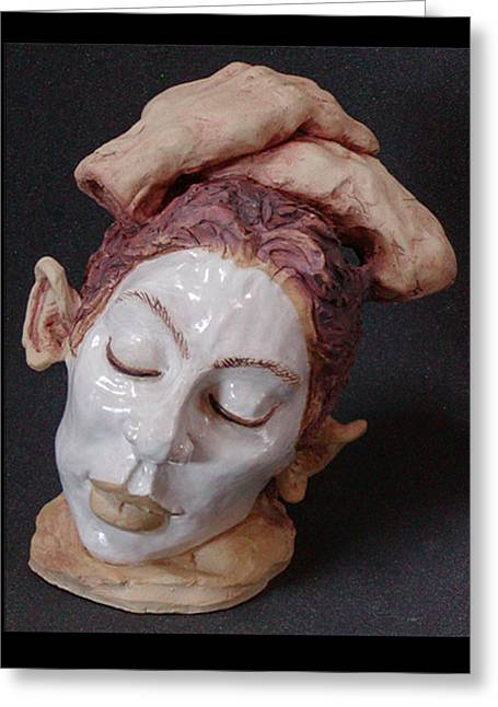 Woman Head Sculptures Greeting Cards - Mime Greeting Card by Karen Fulk