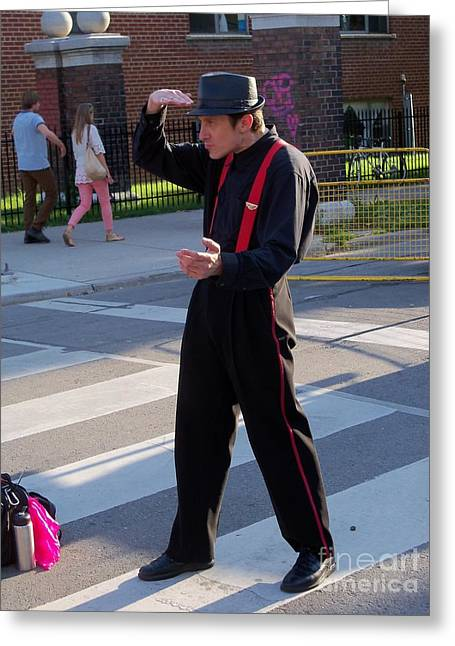 Mime Performer On The Street Greeting Card by Lingfai Leung