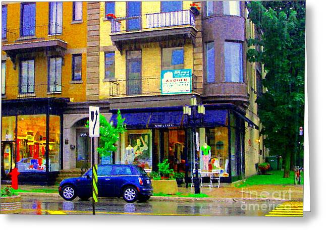 Crosswalk Paintings Greeting Cards - Mimi And Coco Clothing Boutique Laurier In The Rain  Plateau Montreal City Scenes Carole Spandau Art Greeting Card by Carole Spandau