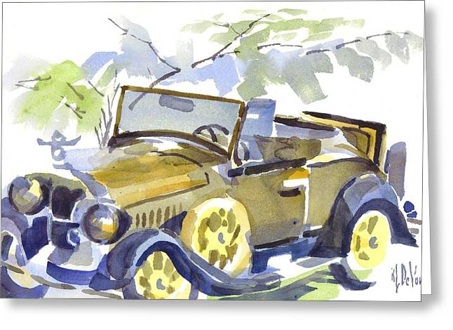 1929 Roadster Greeting Cards - Mimosa Tree with Model A Greeting Card by Kip DeVore