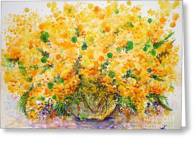 Mimosa Flowers Greeting Cards - Mimosa Greeting Card by Zaira Dzhaubaeva