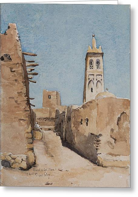Minarets Greeting Cards - Minaret Of Sidi Okba, 18th April 1889 Wc On Paper Greeting Card by Henri Duhem