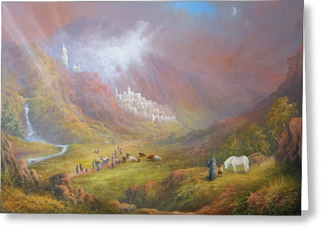 Elf Greeting Cards - Minas Tirith  War approaches. Greeting Card by Joe  Gilronan