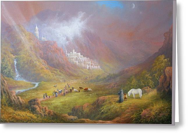 Lord Of The Rings Greeting Cards - Minas Tirith  War approaches. Greeting Card by Joe  Gilronan