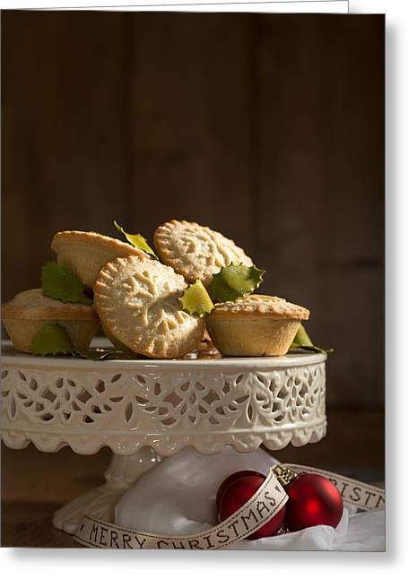 Cake Stand Greeting Cards - Mince Pie Display Greeting Card by Amanda And Christopher Elwell