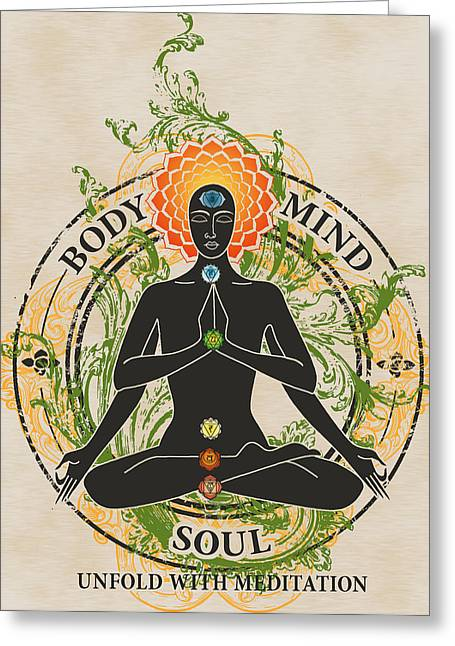 Sahasrara Greeting Cards - Mind Body and Soul KUNDALINI Greeting Card by RSRLive Arts