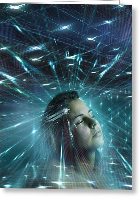 Thought Controlled Greeting Cards - Mind control, conceptual artwork Greeting Card by Science Photo Library