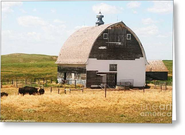 Book Cover Art Greeting Cards - MINDEN NEBRASKA OLD FARM and BARN Greeting Card by PainterArtist FIN