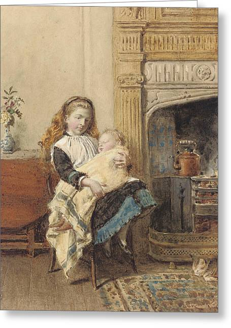 Hearths Greeting Cards - Minding Baby Greeting Card by George Goodwin Kilburne