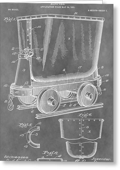 Silver Ore Greeting Cards - Mine Cart Patent Greeting Card by Dan Sproul