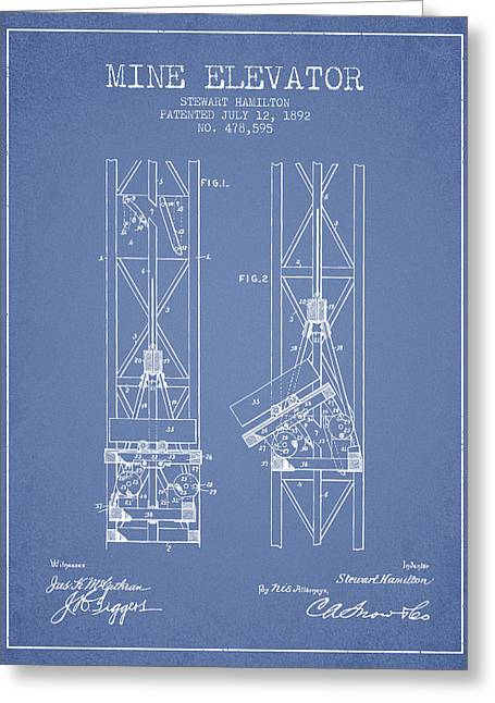 Mine Greeting Cards - Mine Elevator Patent from 1892 - Light Blue Greeting Card by Aged Pixel