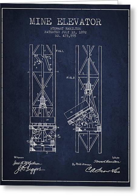 Mine Greeting Cards - Mine Elevator Patent from 1892 - Navy Blue Greeting Card by Aged Pixel