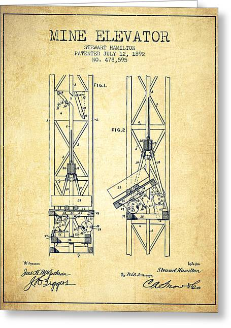 Mine Greeting Cards - Mine Elevator Patent from 1892 - Vintage Greeting Card by Aged Pixel