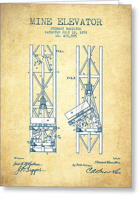 Mine Greeting Cards - Mine Elevator Patent from 1892 - Vintage Paper Greeting Card by Aged Pixel