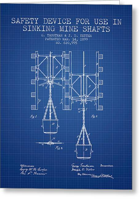 Mine Greeting Cards - Mine Shaft Safety Device Patent from 1899 - Blueprint Greeting Card by Aged Pixel
