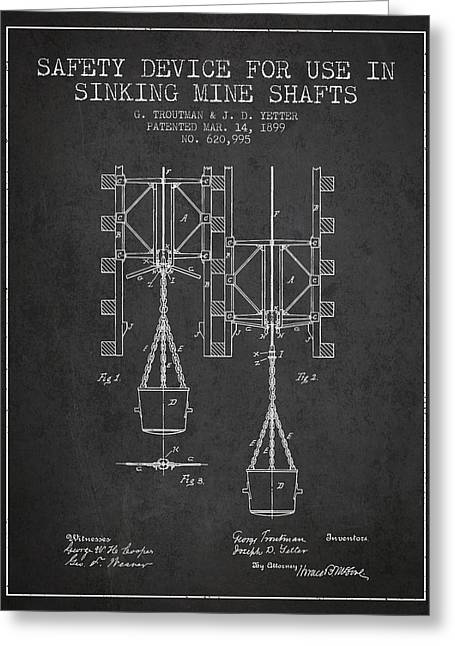 Mine Greeting Cards - Mine Shaft Safety Device Patent from 1899 - Charcoal Greeting Card by Aged Pixel