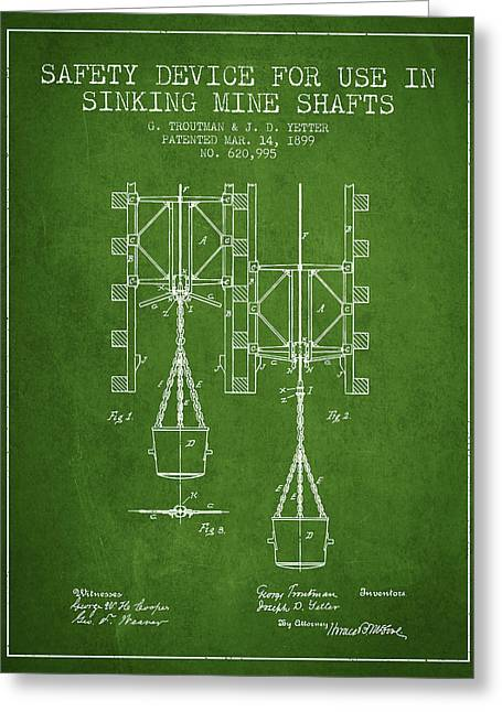 Mine Greeting Cards - Mine Shaft Safety Device Patent from 1899 - Green Greeting Card by Aged Pixel