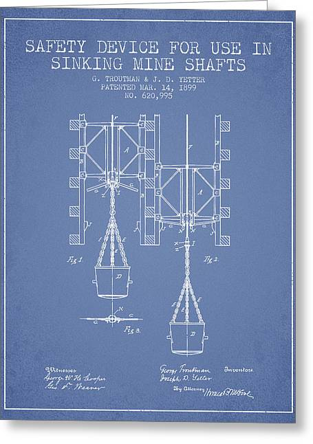 Mine Greeting Cards - Mine Shaft Safety Device Patent from 1899 - Light Blue Greeting Card by Aged Pixel