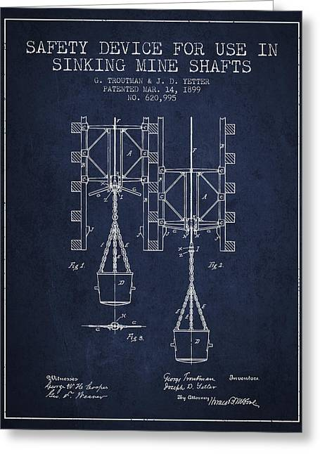 Mine Greeting Cards - Mine Shaft Safety Device Patent from 1899 - Navy Blue Greeting Card by Aged Pixel