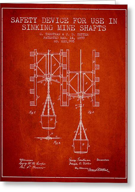 Gold Mines Greeting Cards - Mine Shaft Safety Device Patent from 1899 - Red Greeting Card by Aged Pixel