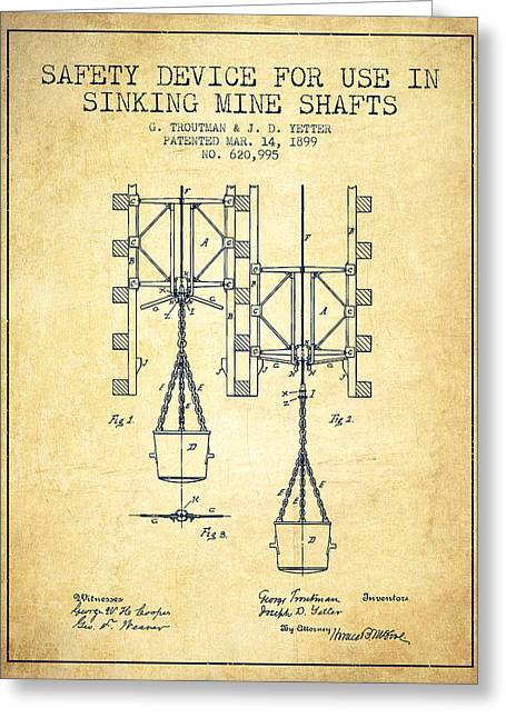 Mine Greeting Cards - Mine Shaft Safety Device Patent from 1899 - Vintage Greeting Card by Aged Pixel